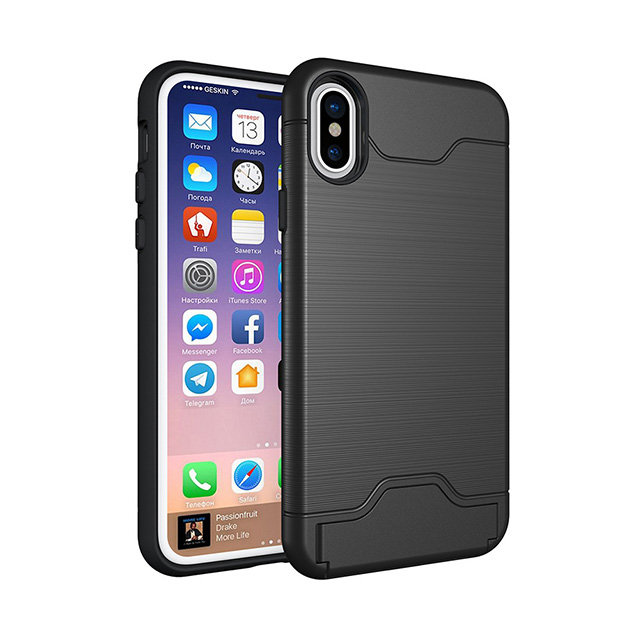 Slot Card TPU PC Phone Case Cover For Iphone X