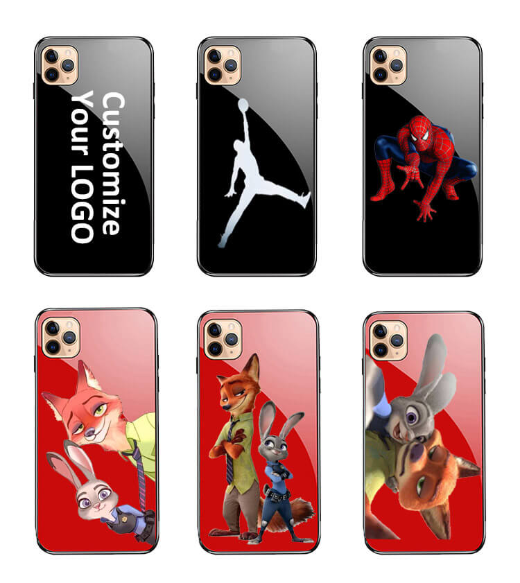 customize phone shock proof tempered glass case for iphone 11 pro x cartoon animel
